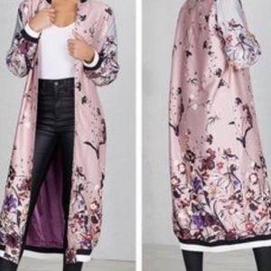 Jackets & Blazers - Floral print longline bomber jacket sz XL